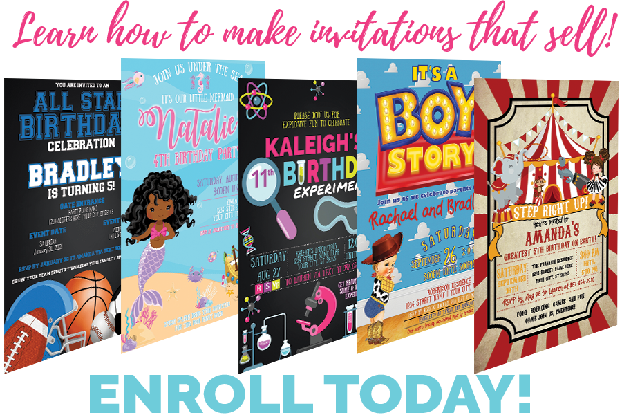 Learn how to make invitations with Creative Boss Academy