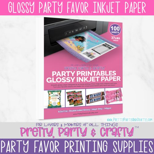 Paper for chip bags, treat wrappers and party favors. Party Printables Glossy Inkjet Paper by Pretty Party and Crafty