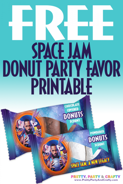 Grab these Free Space Jam Party Favor Printables Donut Wrapper template