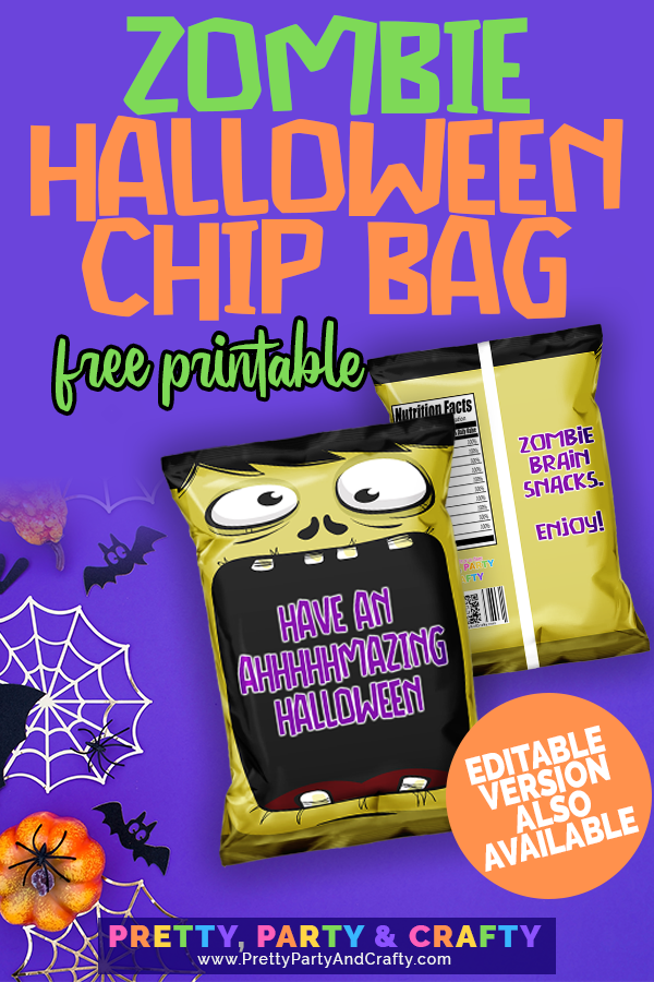 Grab this FREE zombie Halloween chip bag printable from Pretty Party & Crafty. Editable version also available