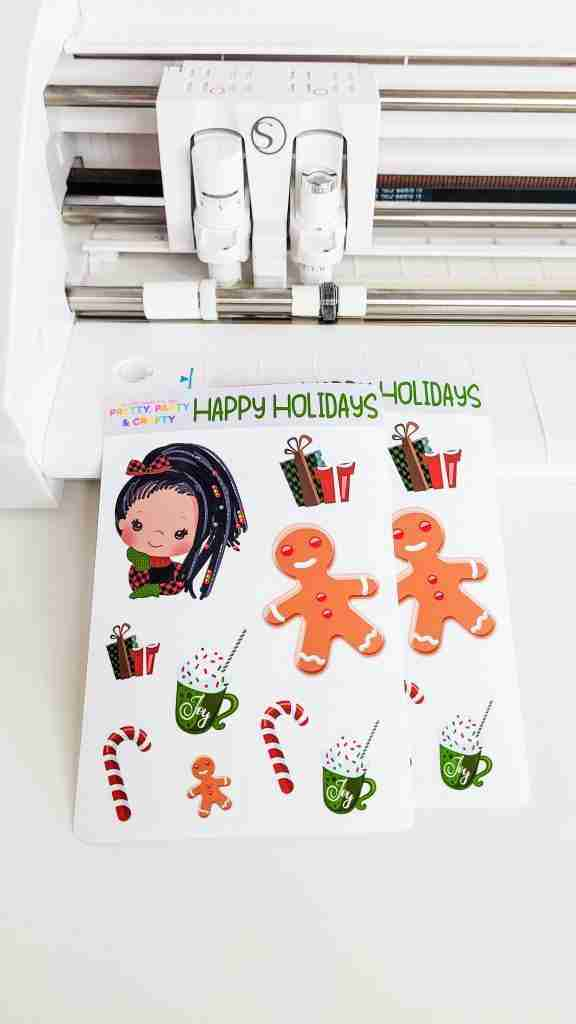 Christmas stickers made with Silhouette Cameo