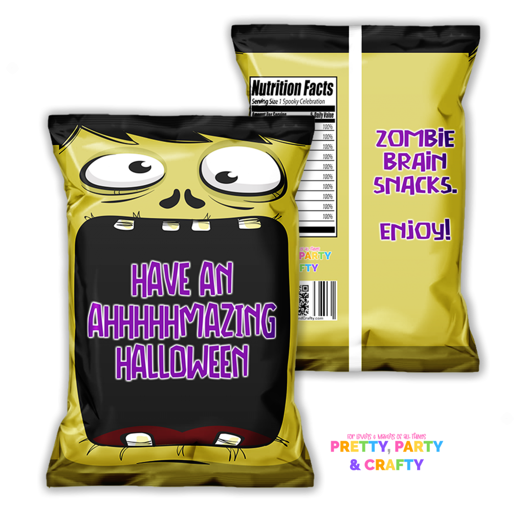 Grab this free Halloween chip bag printable from Pretty Party & Crafty.