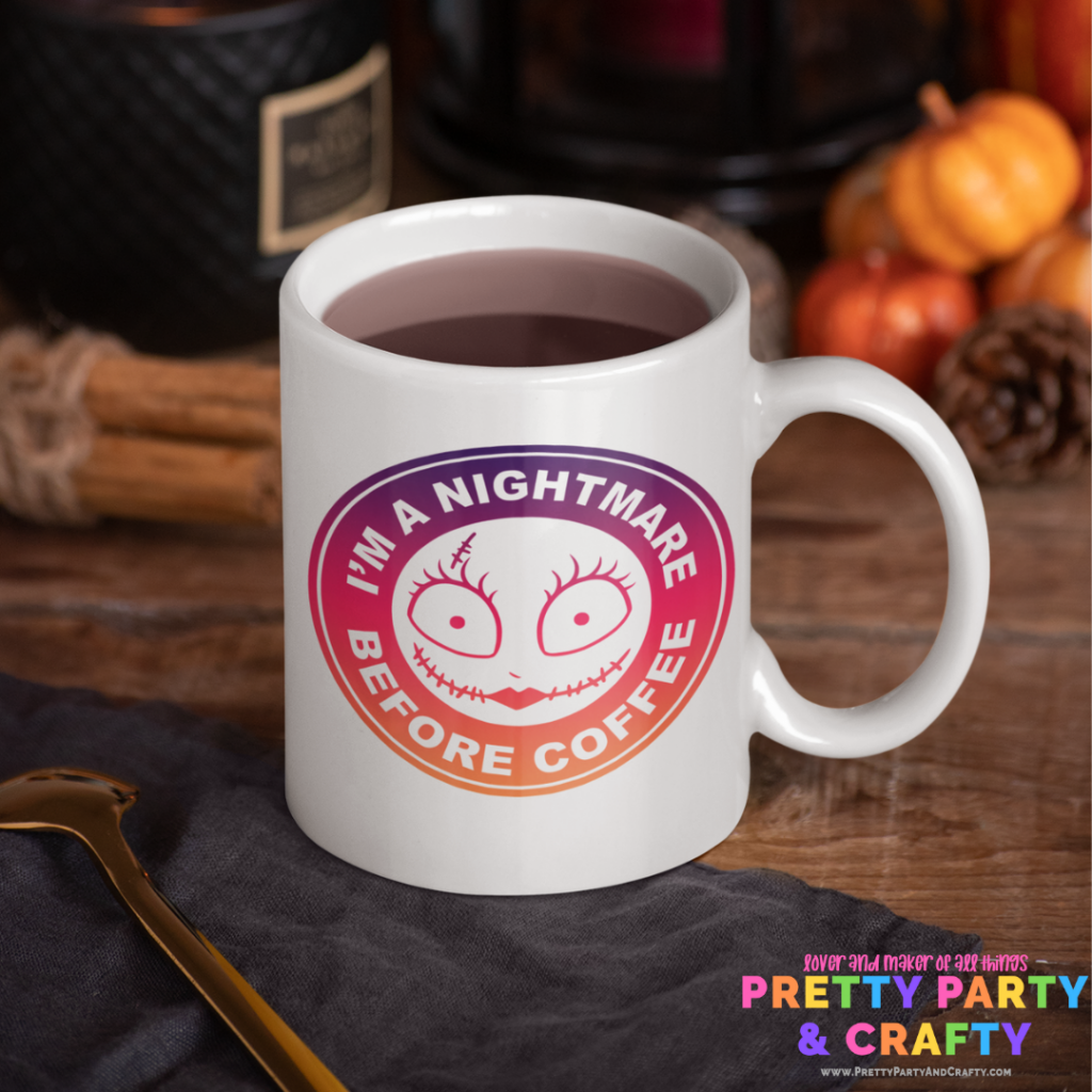 Grab this Free Nightmare Before Christmas SVG sublimation design. Sally Nightmare Before Christmas Starbucks Coffee Mug. Features I'm a Nightmare Before Coffee quote.